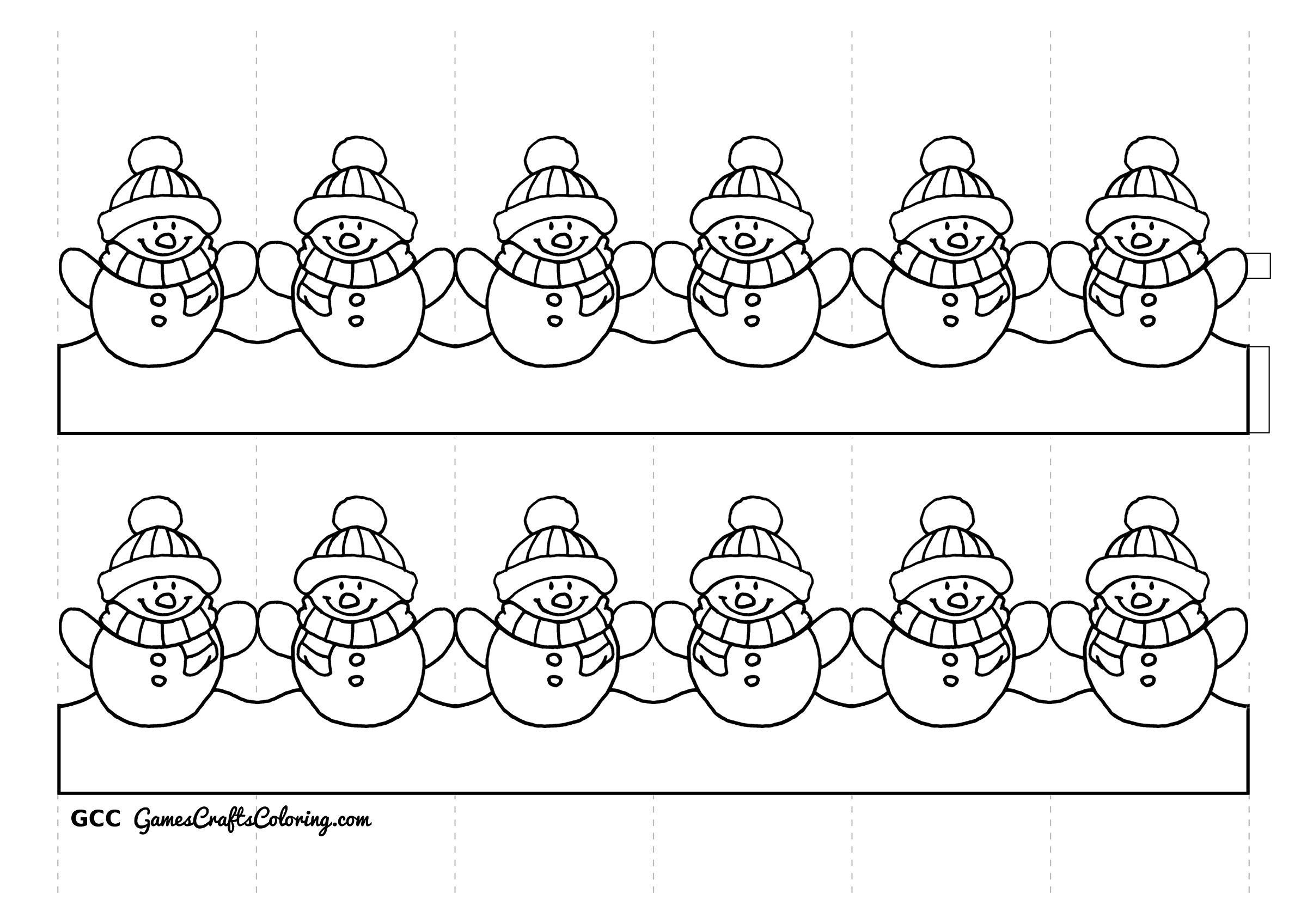 Chainmail coloring pages for Snowman paper chain template