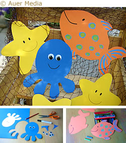 Sea crafts - Sea decorations - Print out templates of starfish, fish and octopus