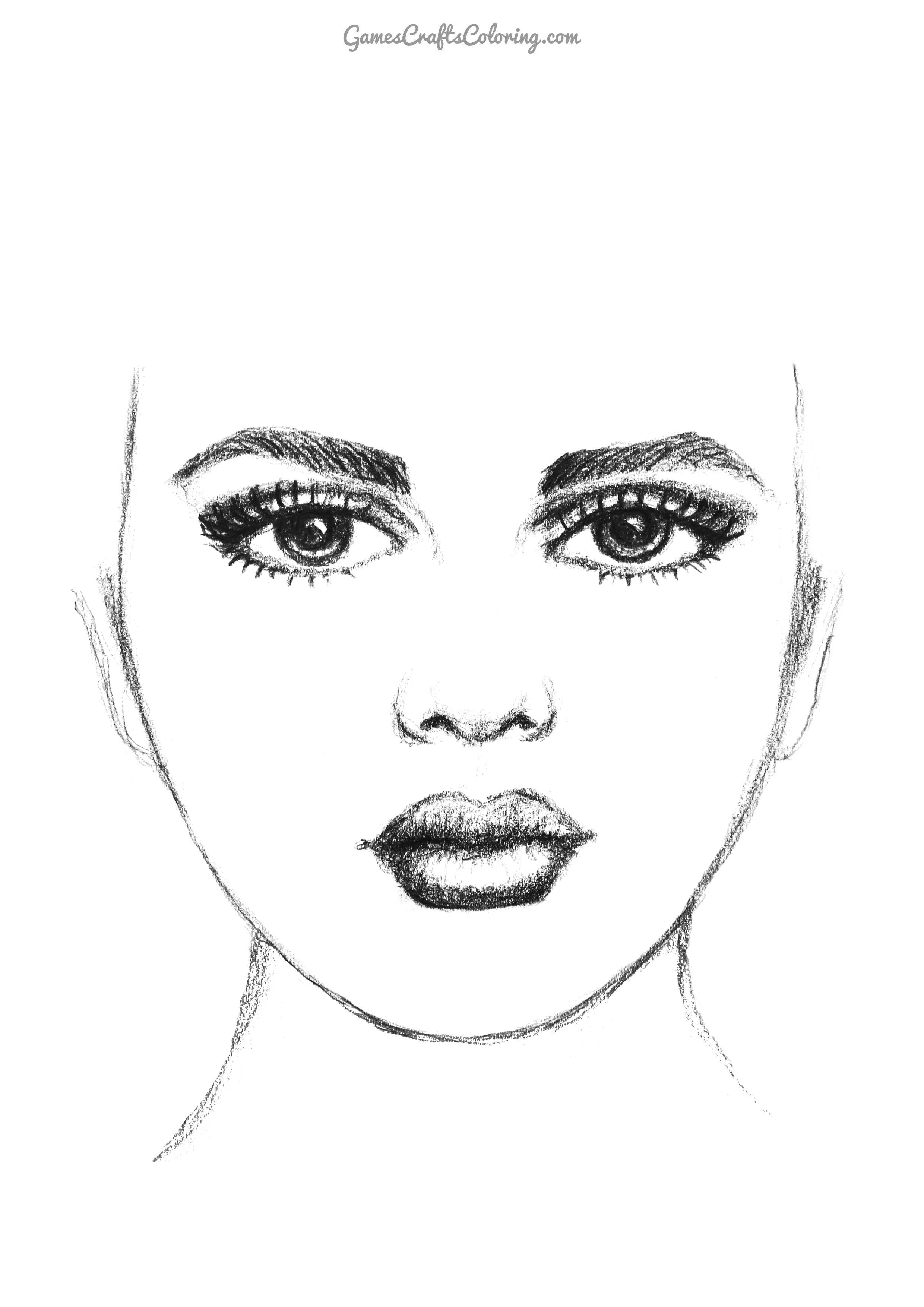 GCC - Printable Girl Face Template - Pencil Drawing